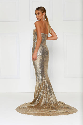 Camilya - Gold Sequin Strapless Gown with Ruched Detail & Side Slit