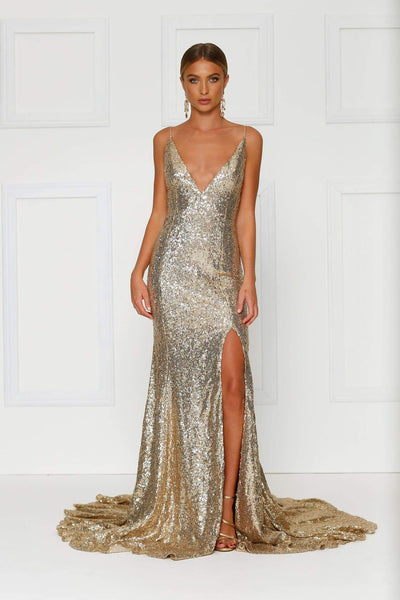 Sexy gold sequin gown with a low back, long train, thigh high side split and deep v neckline