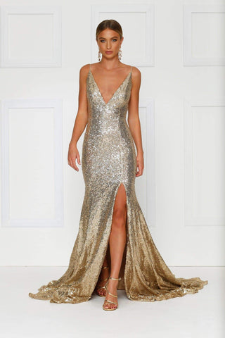 Armanah - Gold Sequin Gown with V Neckline, Low Back and Side Slit