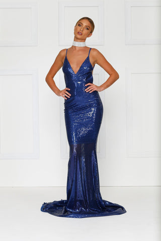 Yassmine - Royal Blue Backless Sequin Gown with Mermaid Train
