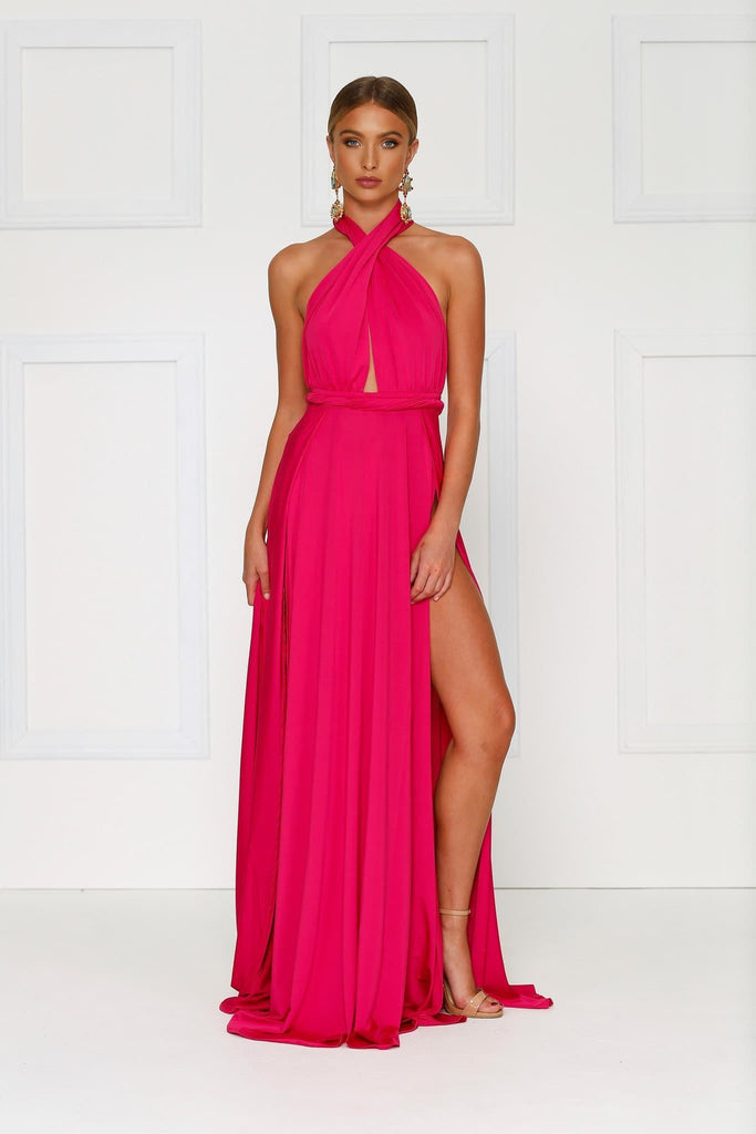 Grecian style hot pink maxi made from stretchy jersey with two thigh high splits, adjustable top, low back and full length