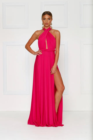 Catalina - Hot Pink Grecian Style Jersey Gown with Slits and Low Back