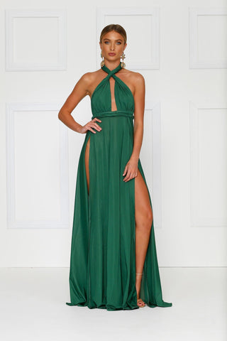 Grecian style emerald maxi made from stretchy jersey with two thigh high splits, adjustable top, low back and full length