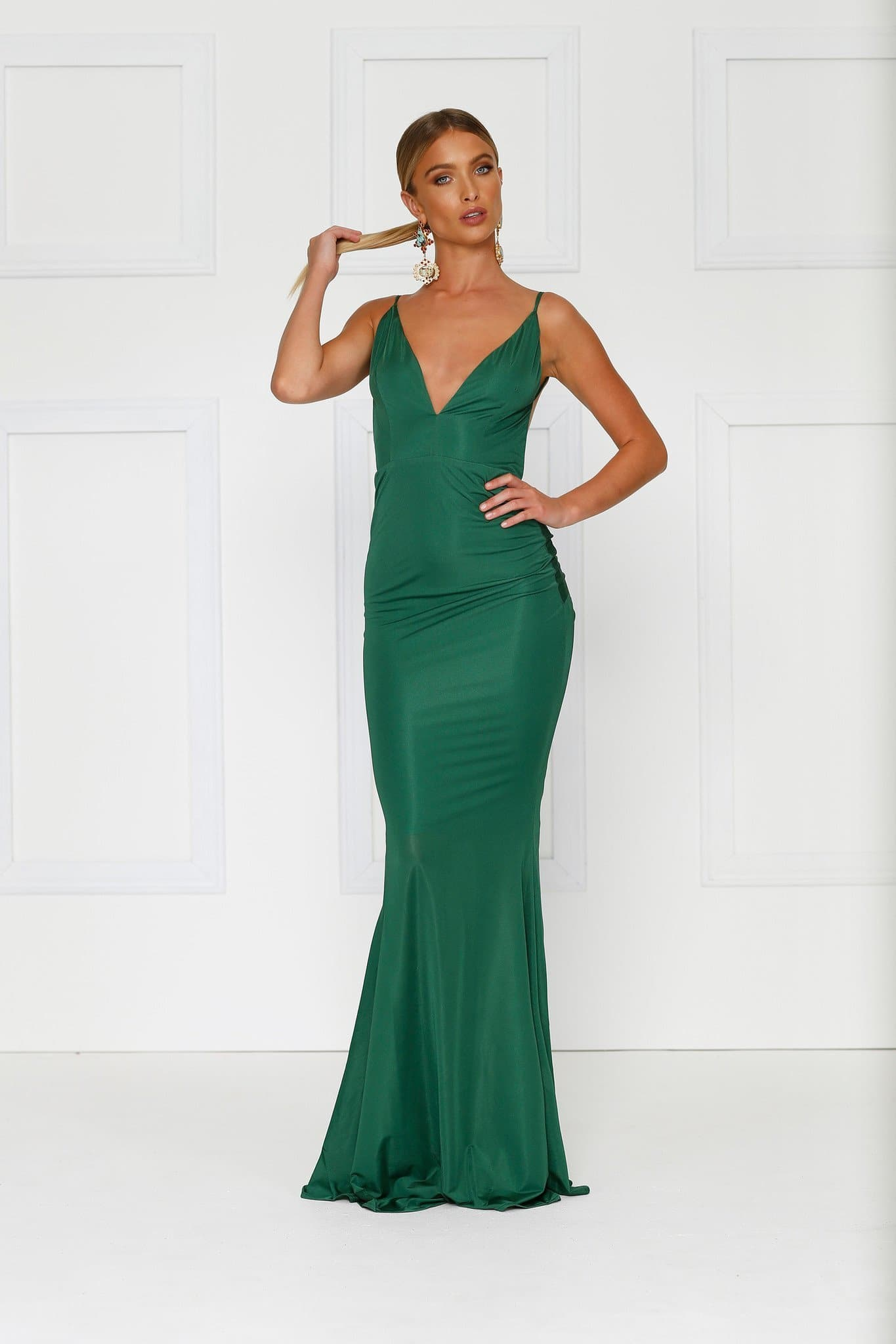 Penelope - Emerald Jersey Gown with Low Back & Plunge Neckline