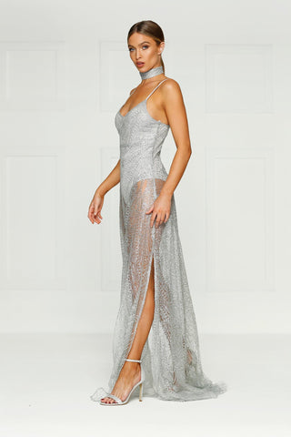 Jewels - Silver Glitter Gown with V-Neckline and Two Side Slits