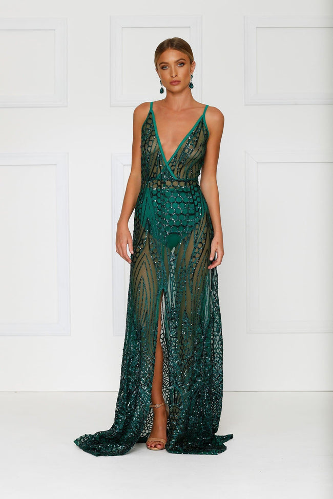 sheer emerald full length gown embellished with sequins, lined at the bust, front centre split, deep v neck and comes with underwear