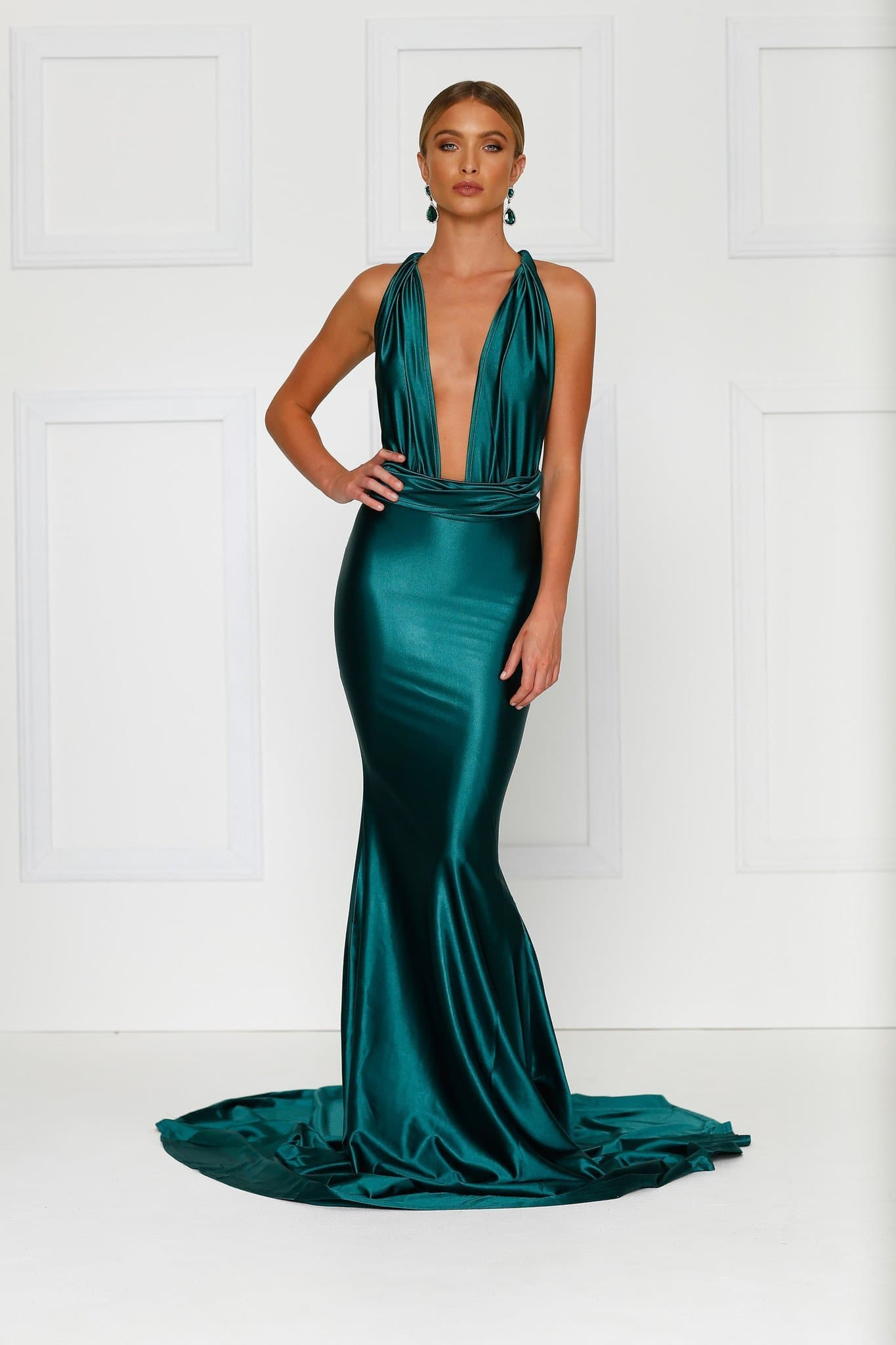 Lena - Emerald Satin Multiway Gown with Plunging Neckline & Low Back
