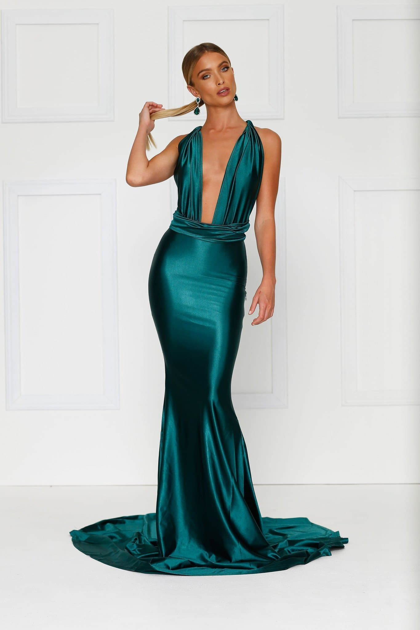 cf30ee8431b5 ... Lena - Emerald Satin Multiway Gown with Plunging Neckline   Low Back ...