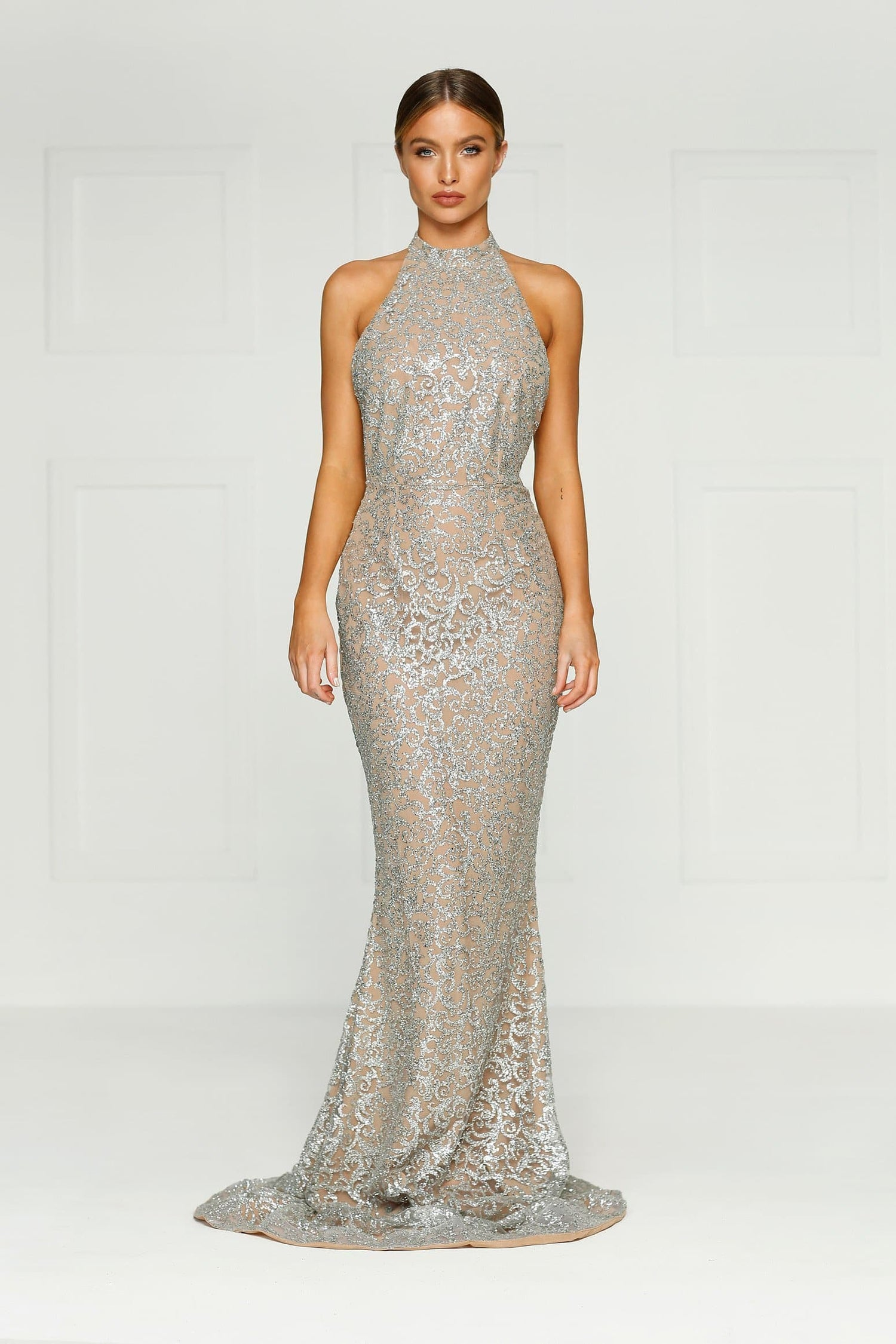 Leilani - Silver Glitter Gown with Halter Neckline & Open Back