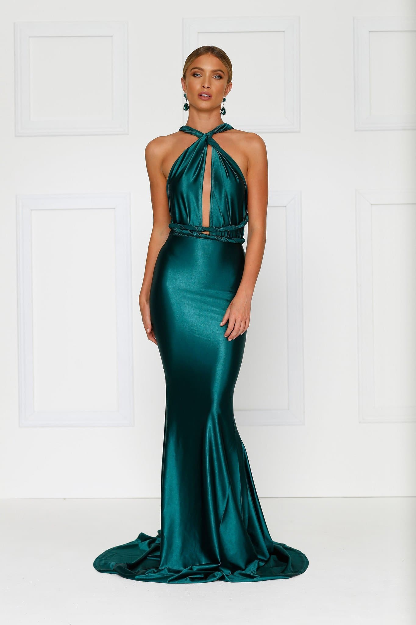 841be65206dd Lena - Emerald Satin Multiway Gown with Plunging Neckline   Low Back ...