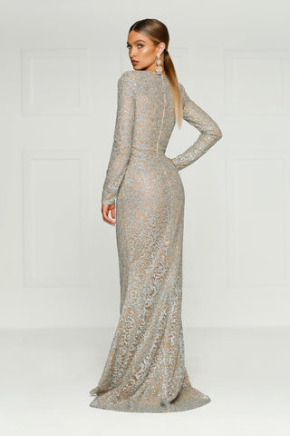 Jolanda - Silver Glitter Gown with High Neckline and Long Sleeves