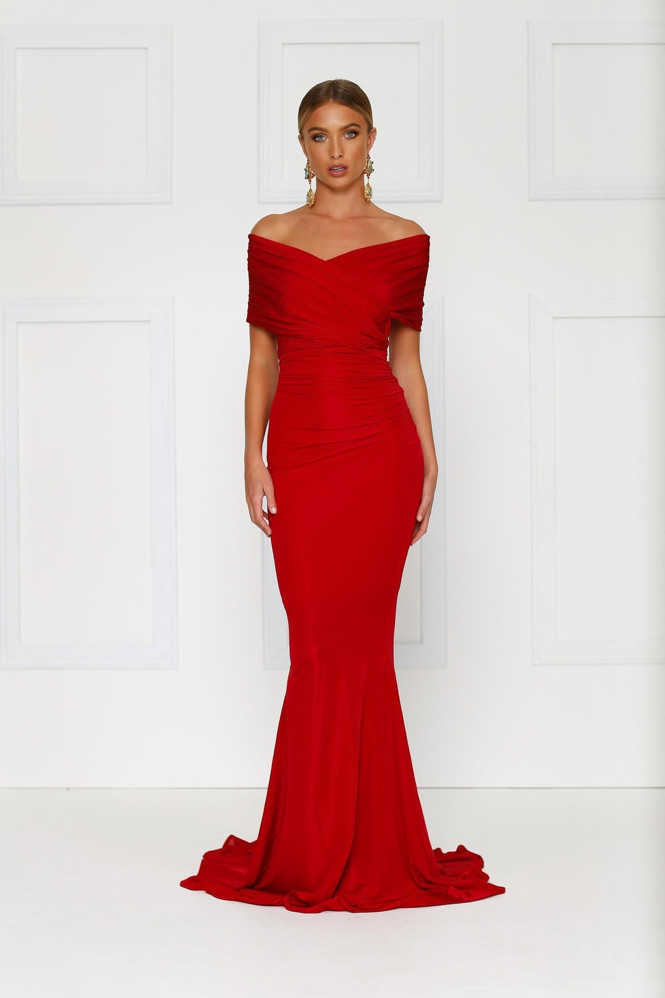 Campanule Formal Gown - Wine Red Jersey Off Shoulder Ruched Dress