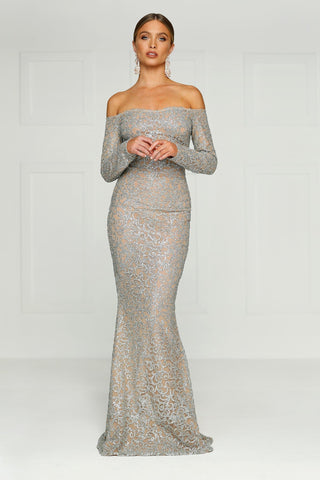 Fliora - Silver Glitter Gown with Long Off-Shoulder Sleeves