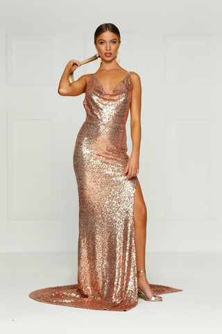 Andriana Formal Gown -Rose Gold Sequins Cowl Neck Low Back Split Dress
