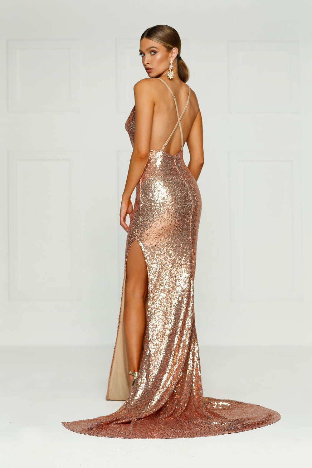 Andriana Formal Gown -Rose Gold Sequins Cowl Neck Low Back Split Dress ... 0458fb686