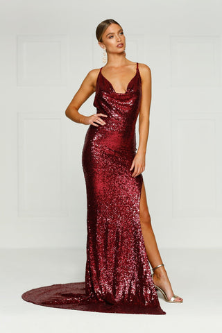 Andriana - Burgundy Sequin Gown with Cowl Neck, Low Back & Side Slit