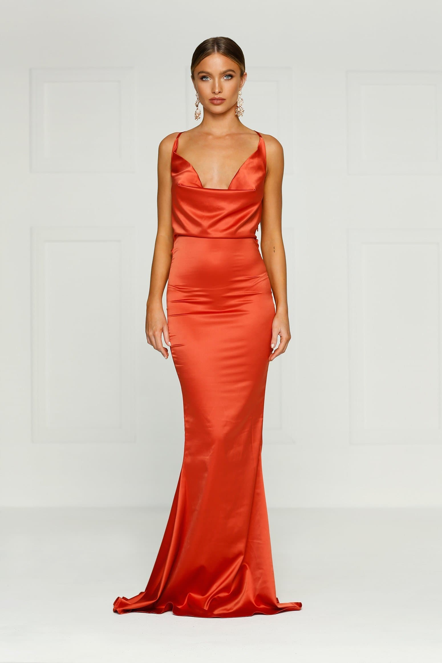 Crisantemi - Rust Satin Dress with Cowl Neckline and Low Back