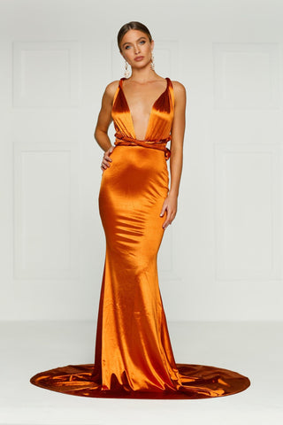 Lena - Golden Rust Satin Gown with Mermaid Train & Plunging Neckline