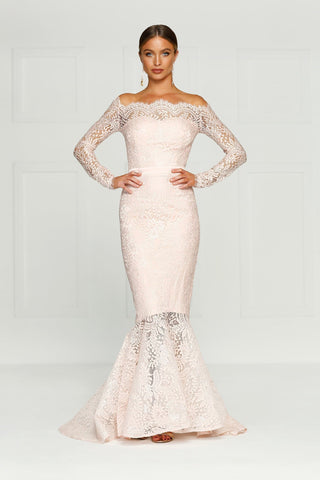 Kamali - Baby Pink Lace Gown with Off-Shoulder Long Sleeves