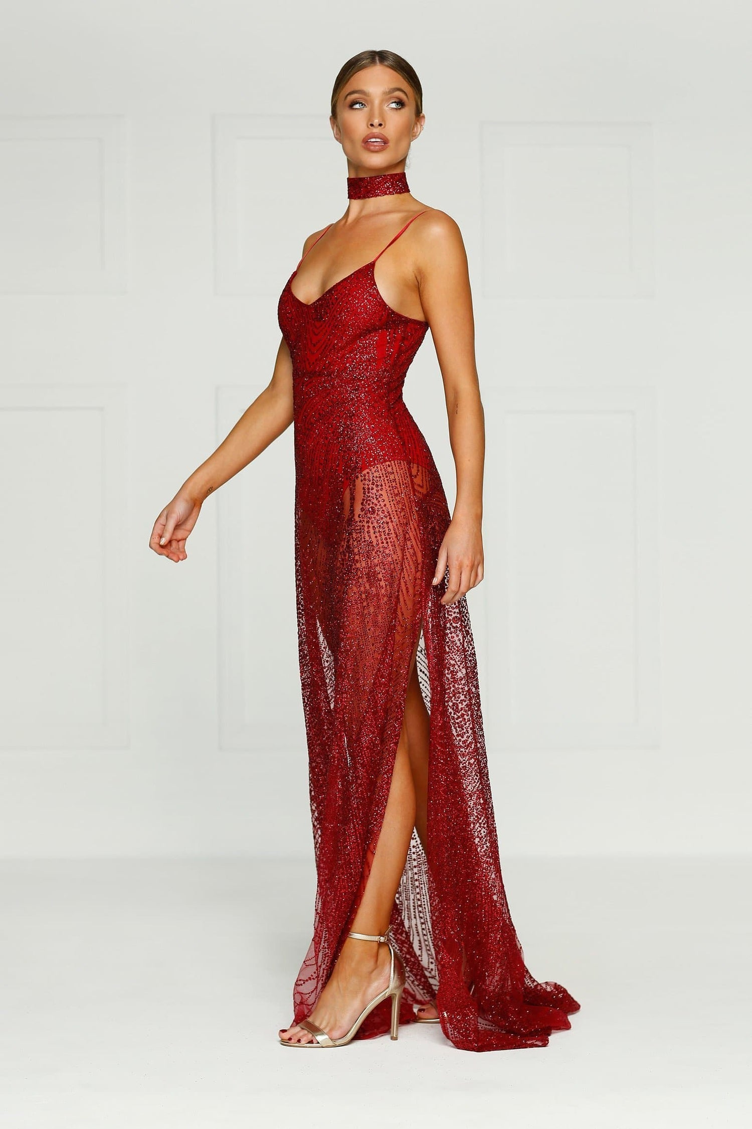 Jewels - Burgundy Glitter Gown with V-Neckline, Low Back & Side Slits