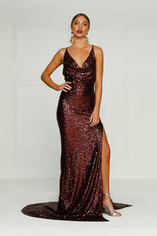 Andriana - Chocolate Sequin Gown with Cowl Neck, Low Back & Side Slit