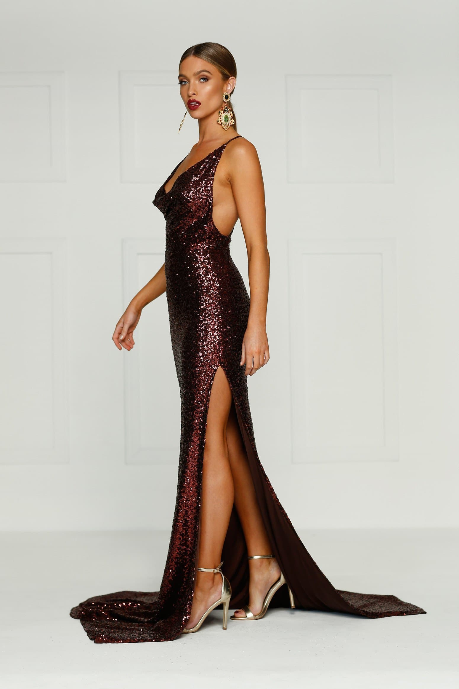 Andriana Formal Gown -Chocolate Sequins Cowl Neck Low Back Split Dress