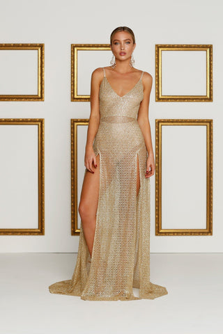 Rozay Luxe Sheer Glitter Gown - Gold