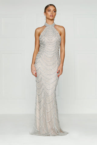 Mallory - Beaded Couture Sleeveless Gown with a Halter Neckline