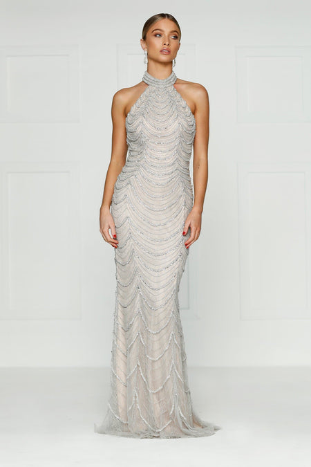 A&N Luxe Cosmo Sequin Gown - Silver