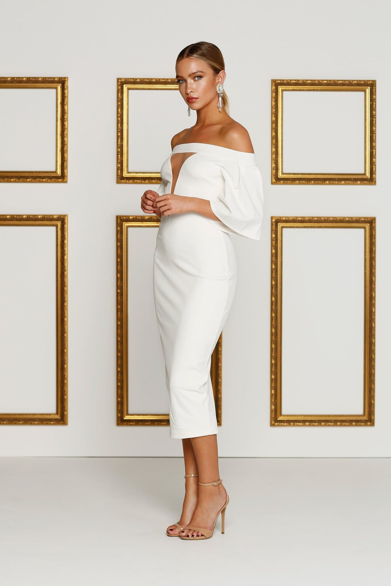 Elisheva - Ivory Crepe Cocktail Gown with Off-Shoulder Bell Sleeves