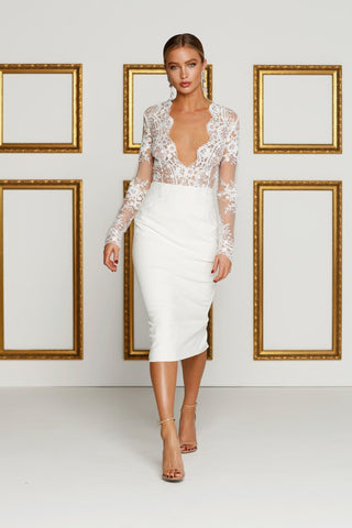 Aysha - Ivory Lace Gown with Long Sleeves and Plunging Neckline