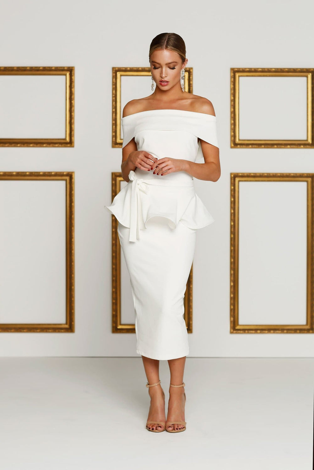 Levana - Ivory Crepe Cocktail Gown with Off-Shoulder Straps