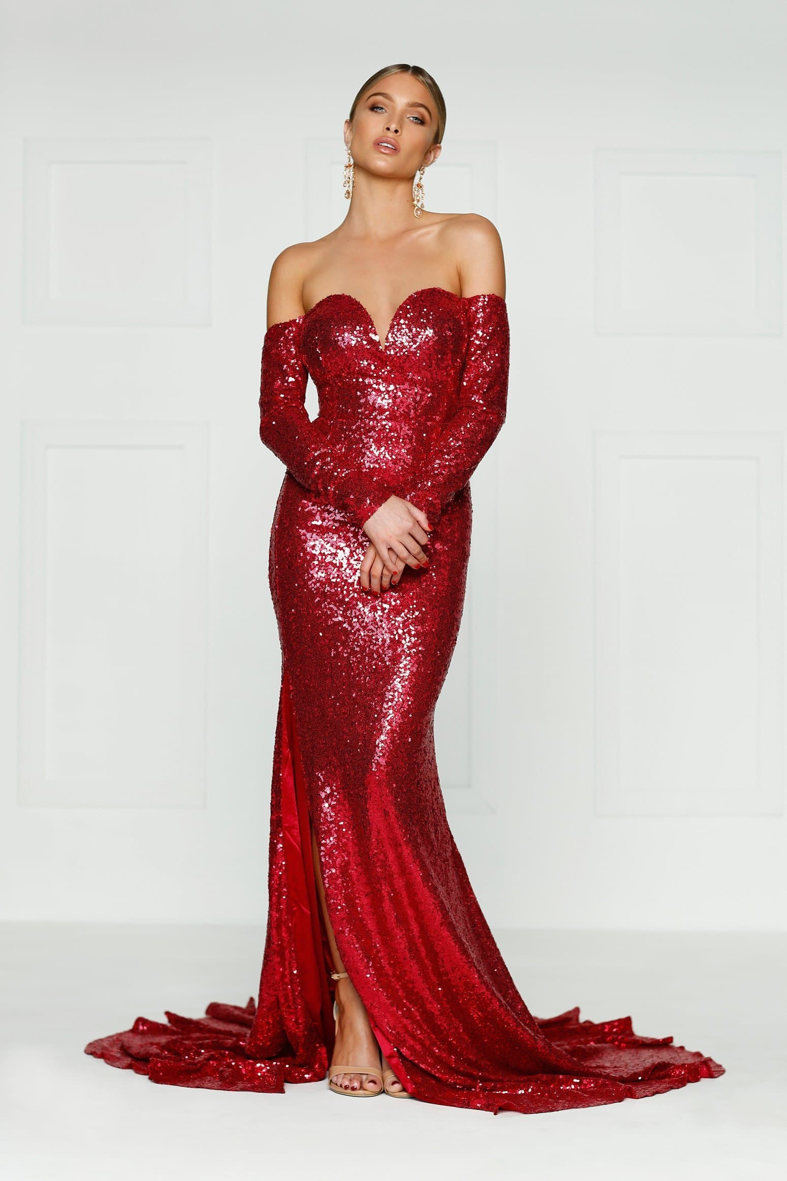 03bf1f966f7 Off the shoulder long sleeves wine red sequins gown with side split