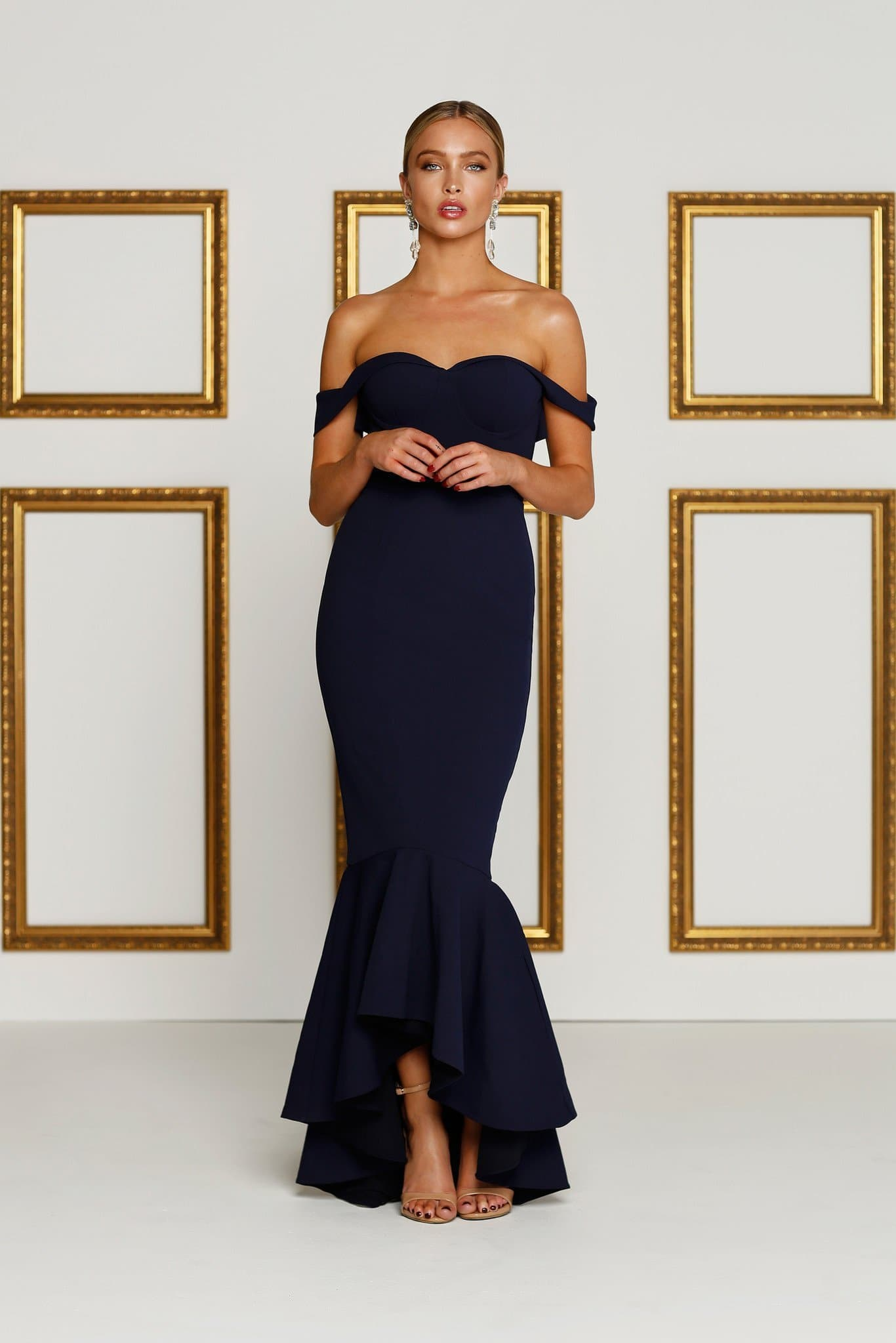 Sapphire - Navy Crepe Gown with Off-Shoulder Drapes   Hi-Low Hem – A N Luxe  Label f33b7f075f91