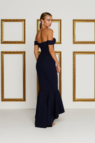 Sapphire - Navy Crepe Gown with Off-Shoulder Drapes & Hi-Low Hem