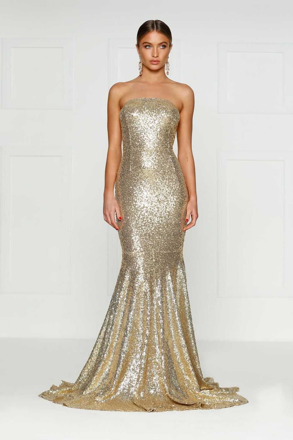 Nicoletta - Gold Strapless Sequin Gown with Mermaid Train