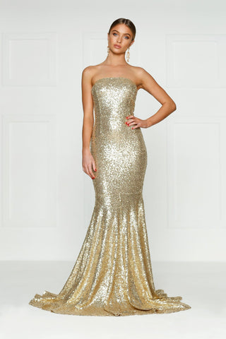 Strapless sequin gold formal dress prom dress bridesmaid dress with mermaid train