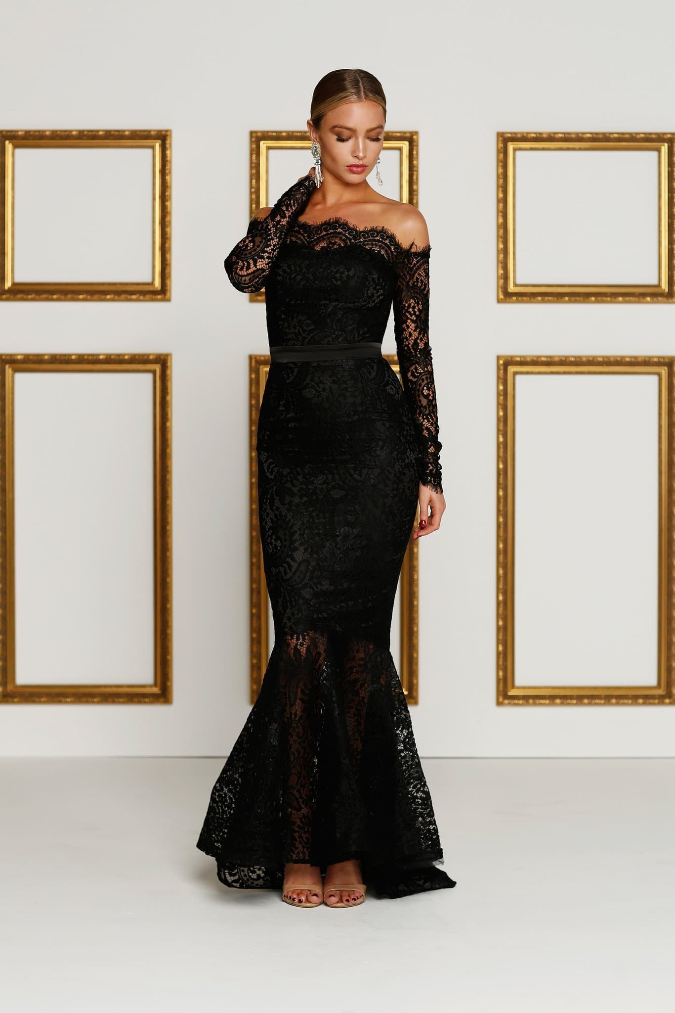 Kamali Gown - Black Lace Off-Shoulder Long Sleeve Mermaid Dress