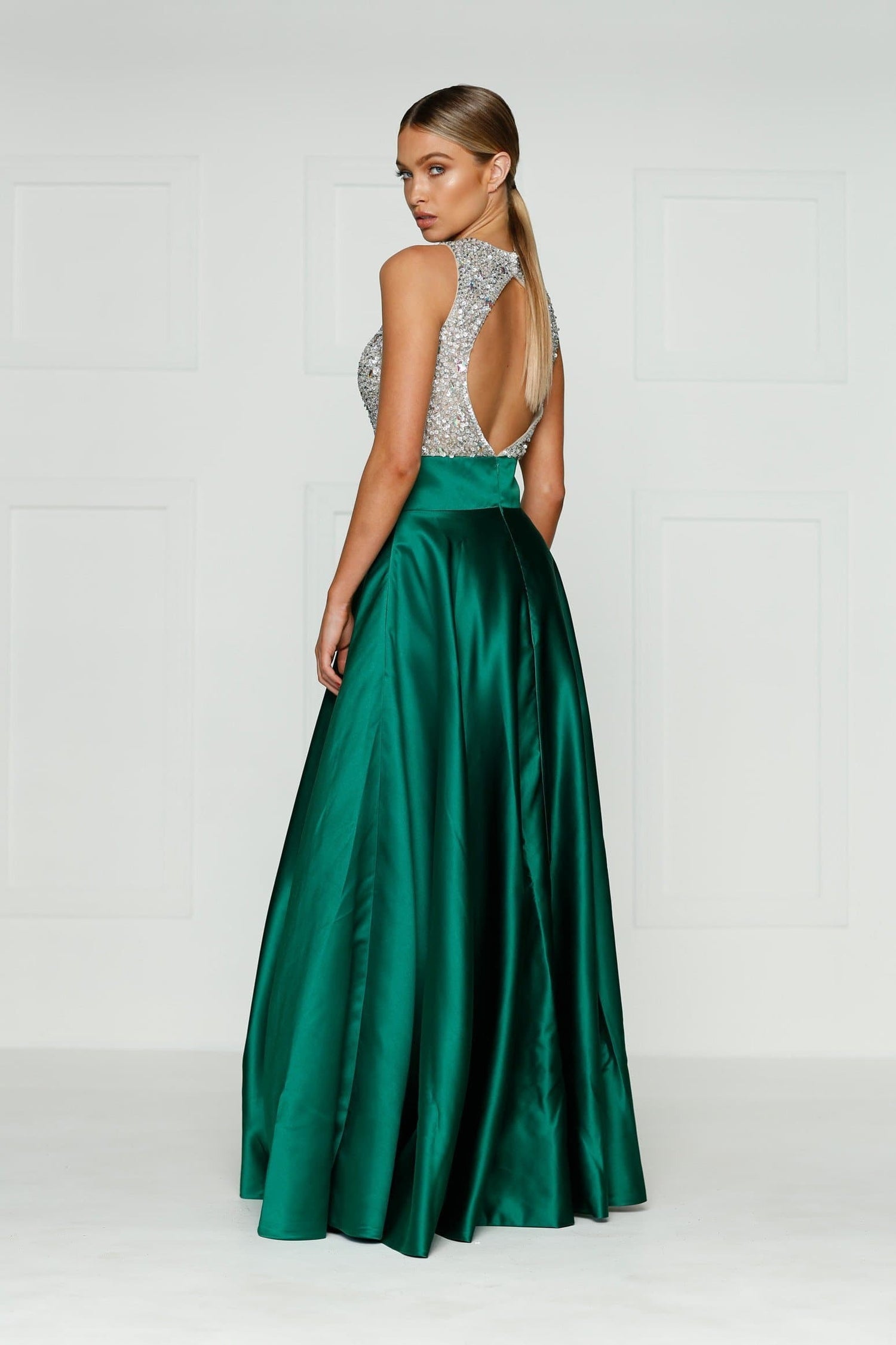 A&N Susu - Emerald Rhinestones Gown with High Neck and Back Detail
