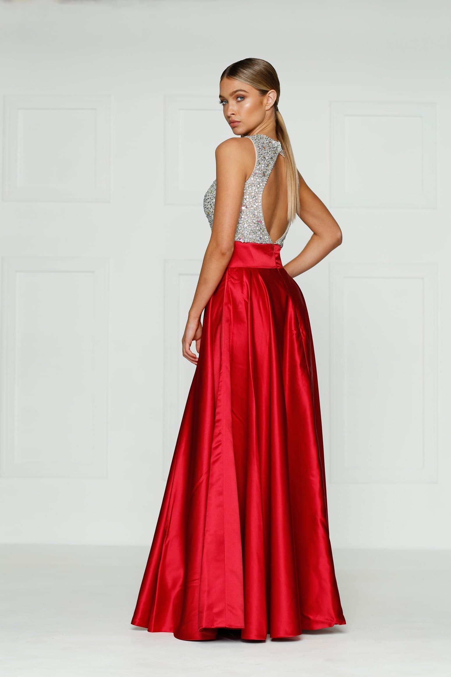 A&N Susu - Red Rhinestones Gown with High Neck and  Back Detail