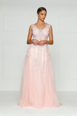 A&N Louis- Baby Pink Princess Tulle Gown with Low Back and Lace Detail