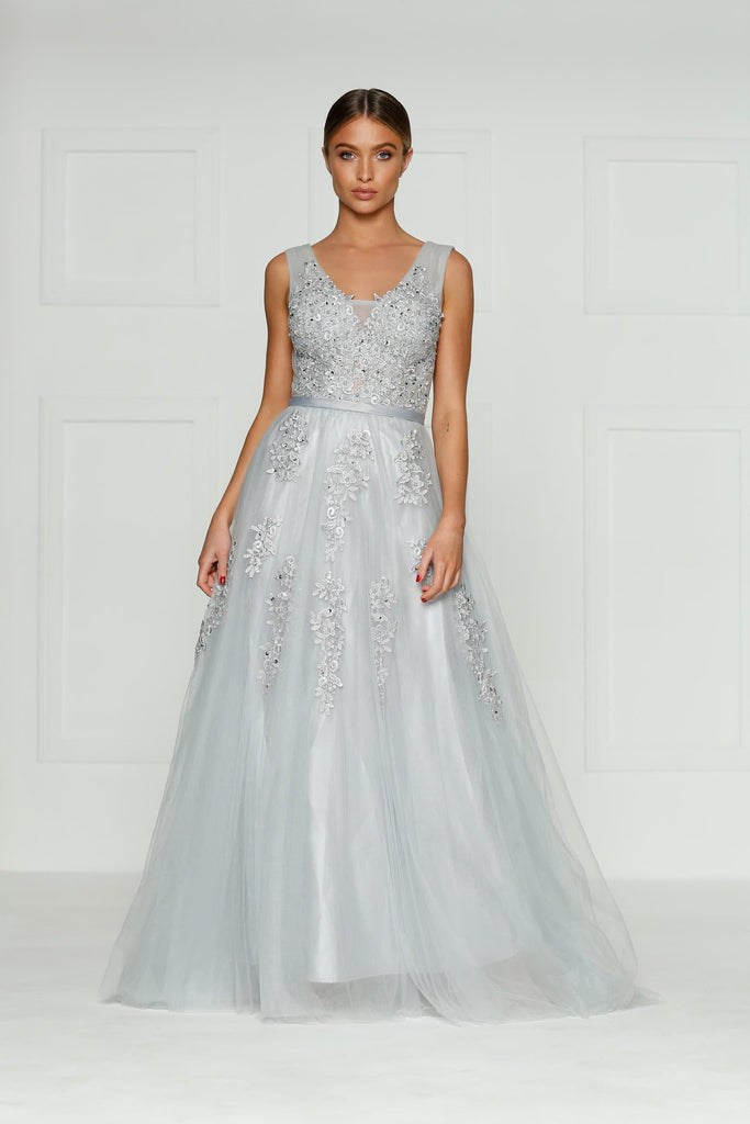 Louis Formal Dress - Grey Princess Tulle Flower Beaded Ball Gown
