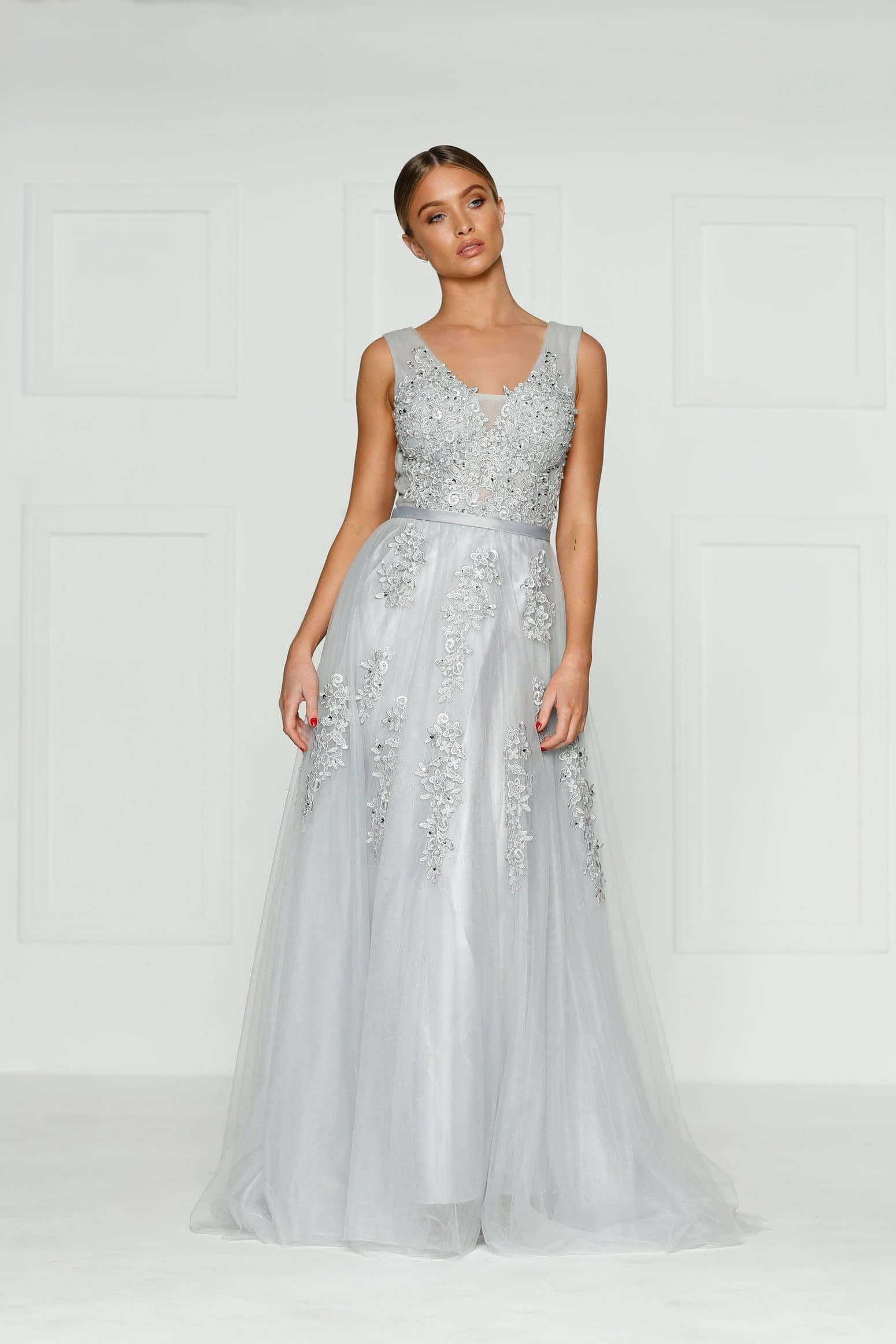 A&N Louis - Grey Princess Tulle Gown with Lace Detail and Low Back