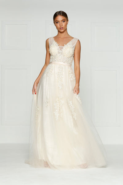 Louis Formal Dress - Vanilla Princess Tulle Flower Beaded Ball Gown