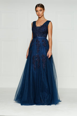 A&N Louis - Navy Princess Tulle Gown with Beaded Detail and Low Back