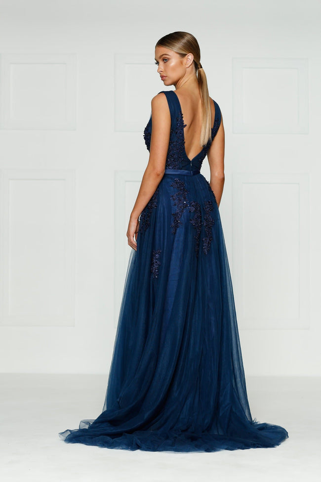 Louis Formal Dress - Navy Princess Tulle Flower Beaded Ball Gown