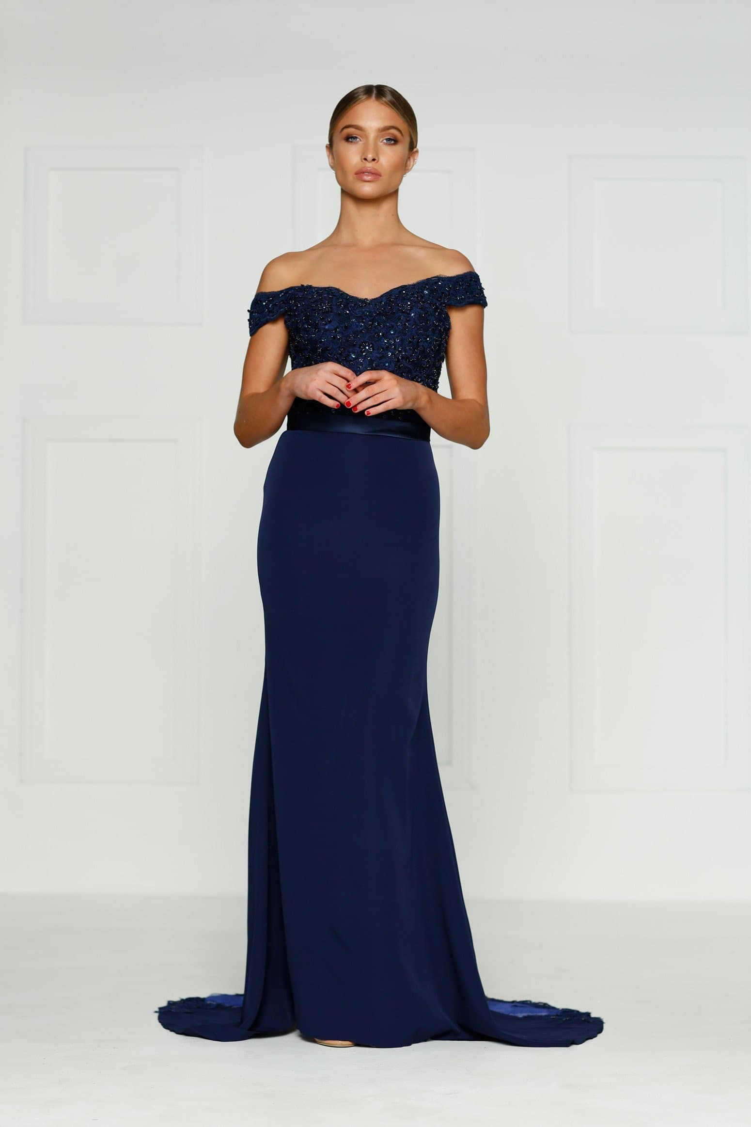 A&N Sandy - Navy Lace Gown with Off-Shoulder Straps