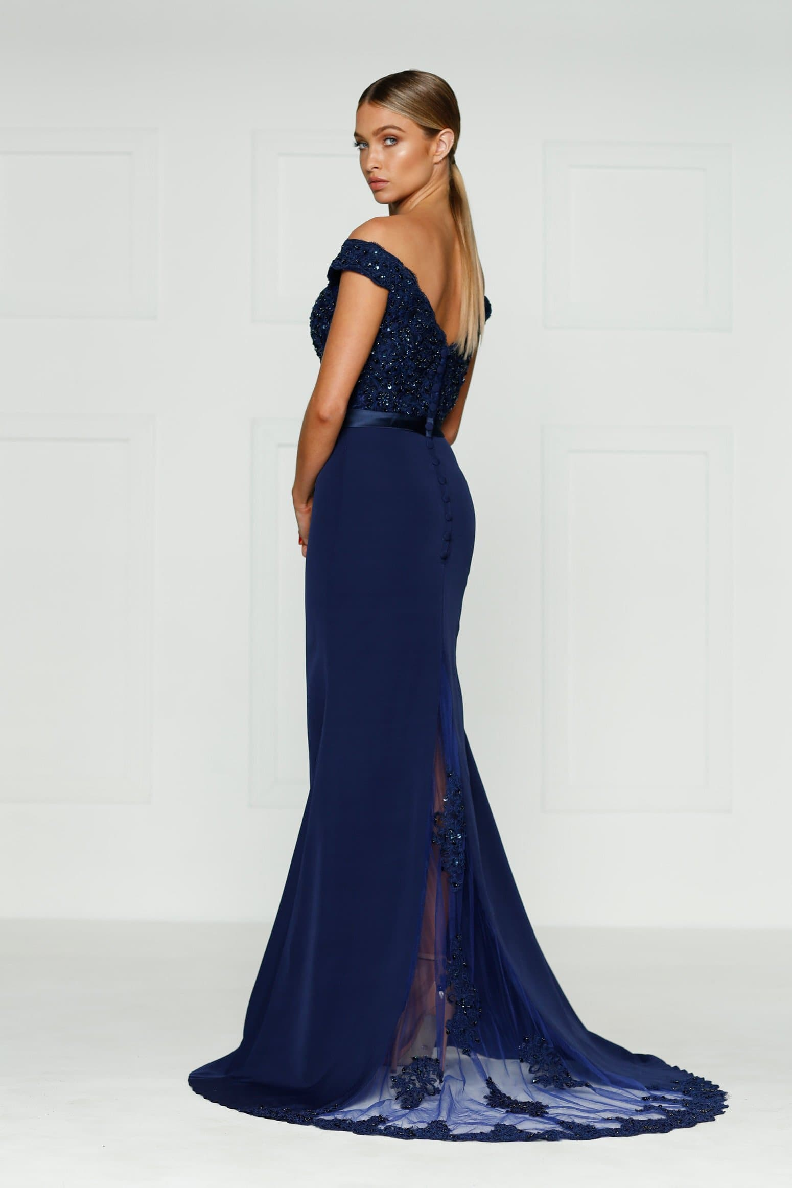 Sandy Formal Dress - Navy Lace Off-Shoulder Mermaid Gown