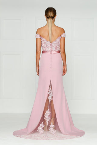 A&N Sandy - Dusty Pink Lace Gown with Off-Shoulder Straps