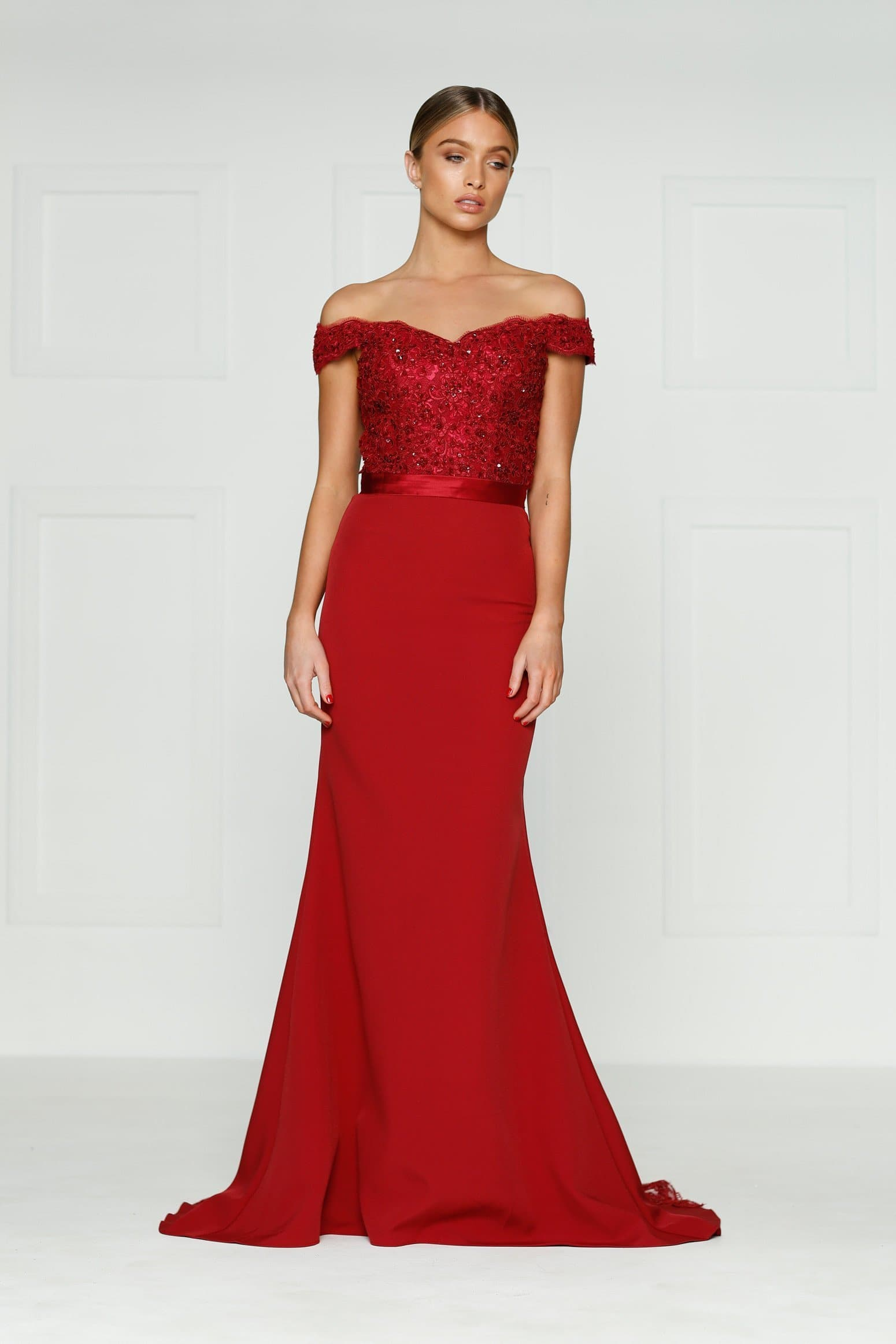 A&N Sandy - Wine Red Lace Gown with Off-Shoulder Straps